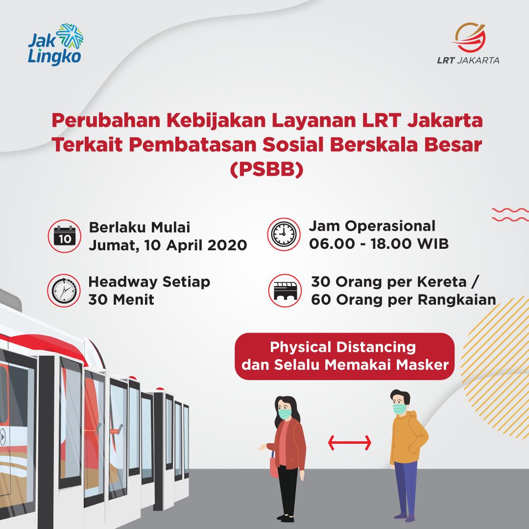 Perubahan Kebijakan Layanan LRT Jalakarta terkait PSBB