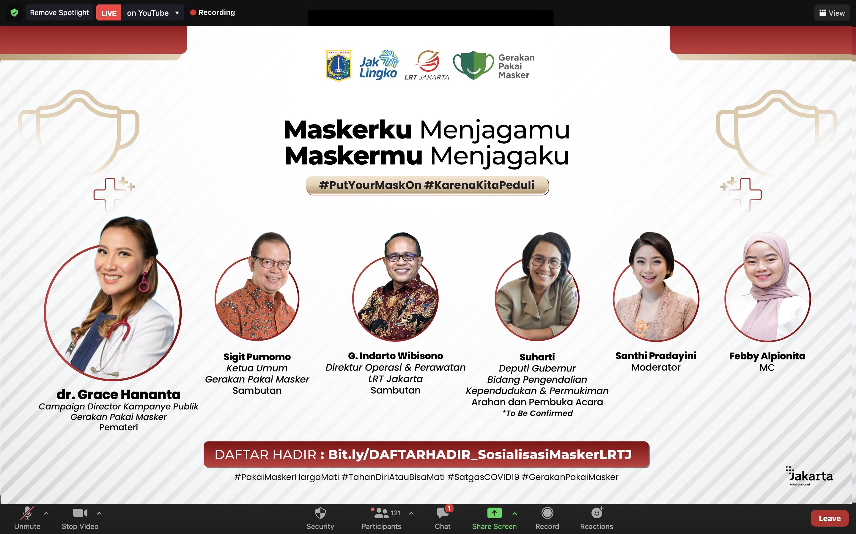 Data UNICEF Pengguna Masker di DKI Tinggal 20 Persen, PT LRT Jakarta Gelar Webinar Disiplin Masker